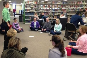 Health Sciences professor Paula Gardner leads staff and students in a mindfulness session