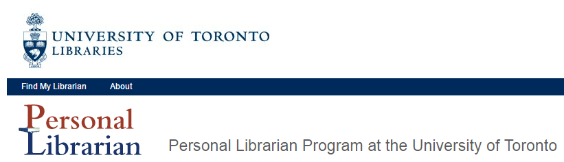 Logo for University of Toronto Personal Librarian program