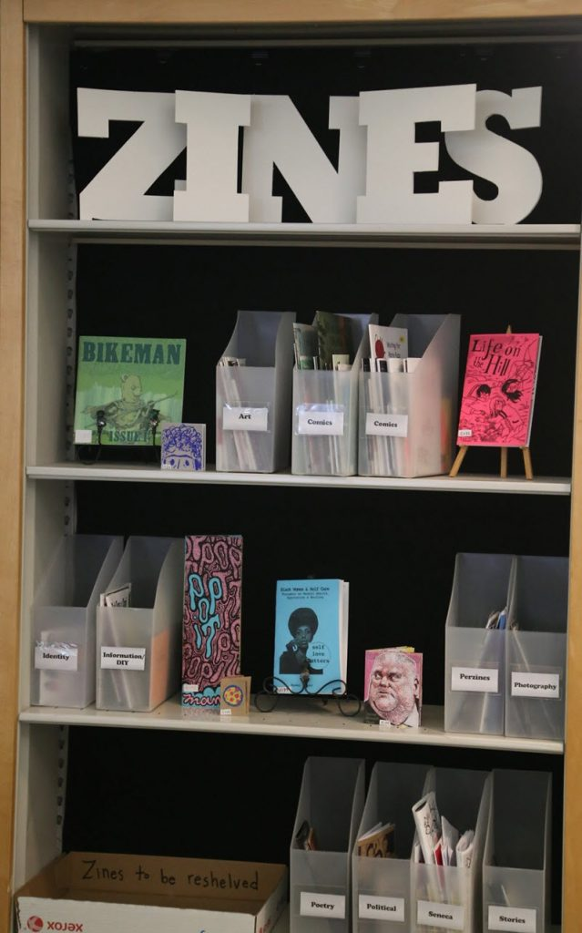 Zine collection at Seneca Libraries
