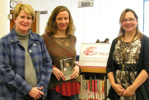 Rebecca Graham (left), U of G's Chief information Officer and Chief Librarian, author Alison Pick, and Pam Jacobs, Information Resources Librarian at the 2014 Campus Author event