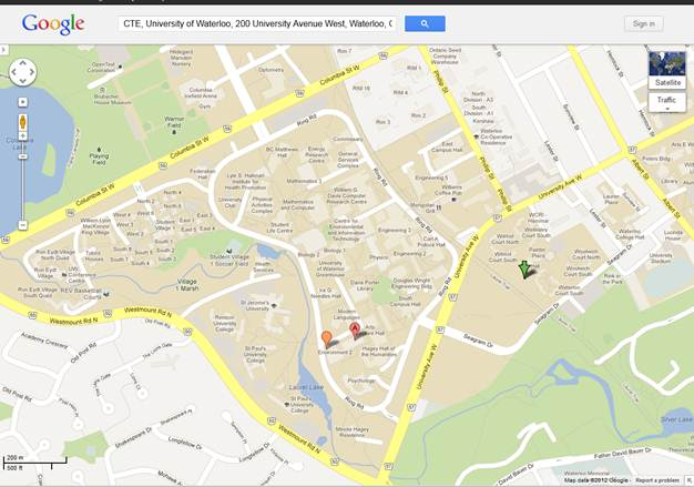 Google map of the University of Waterloo