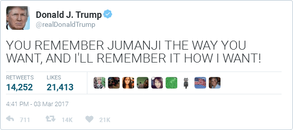 Fake Donald Trump Jumanji Tweet