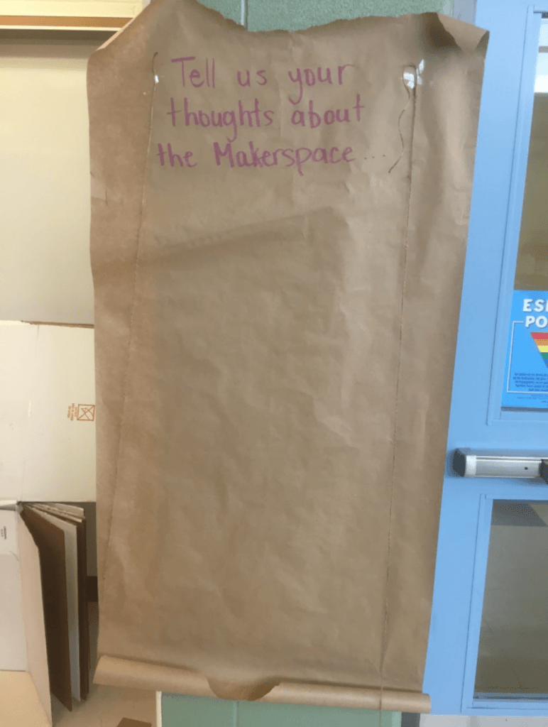 Brown paper on the wall for makerspace feedback