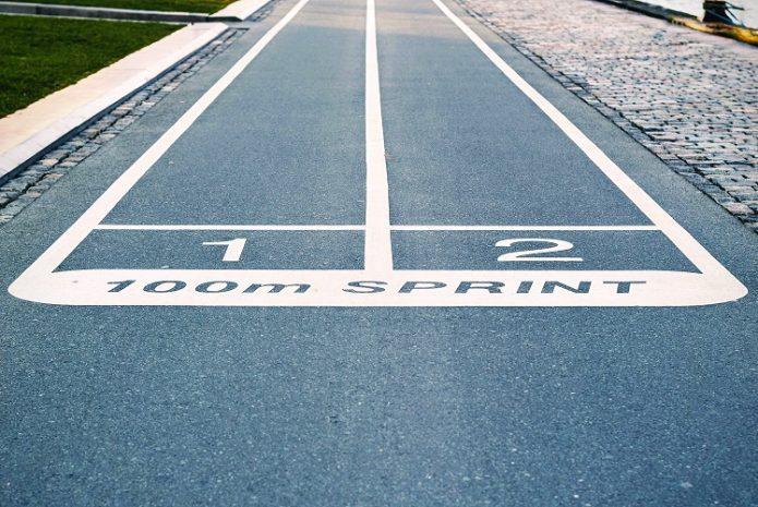 Start line of a 100 meter track