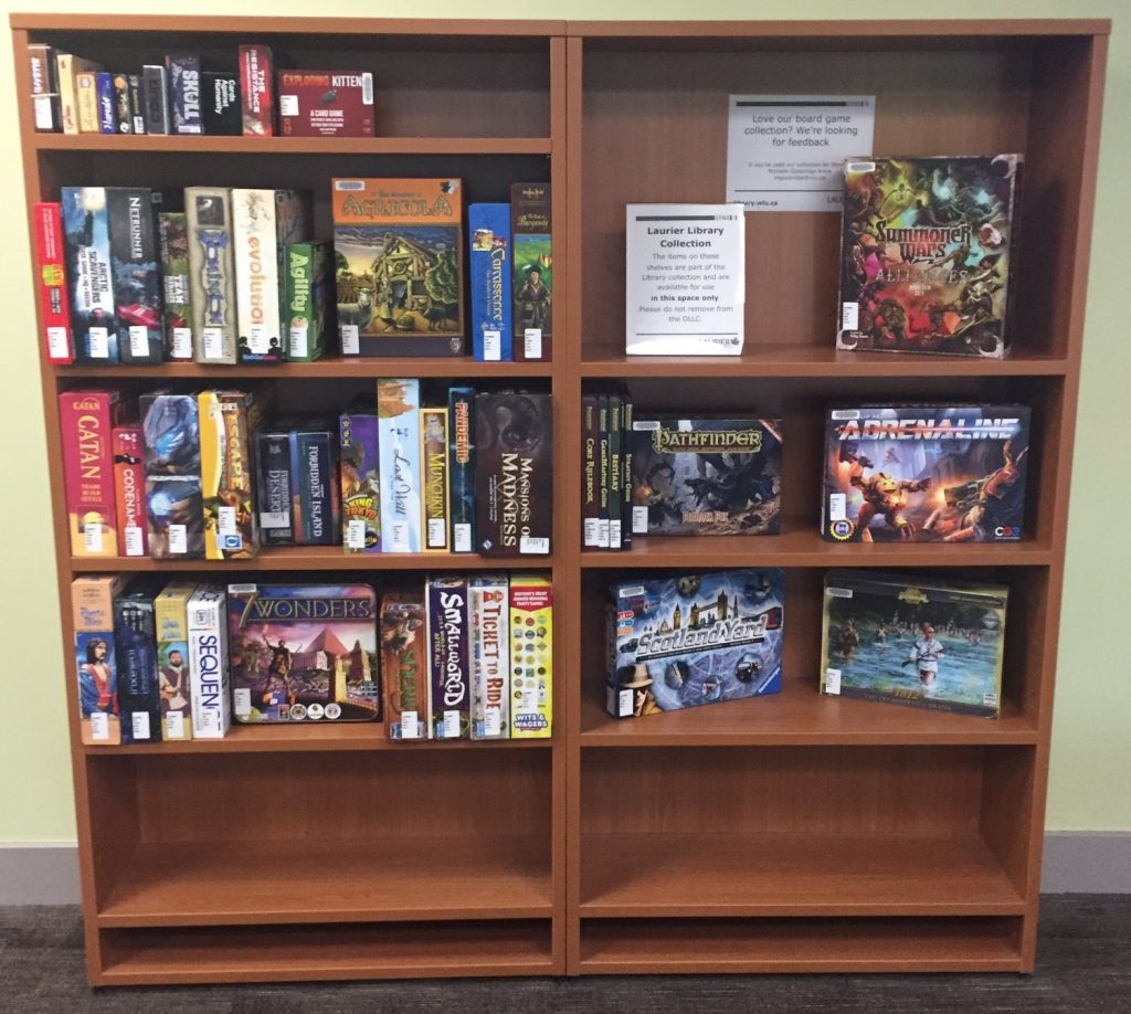 Shelving that holds a number of library board games