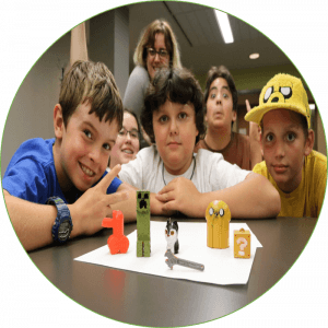 Program participants show off their 3D printed avatars
