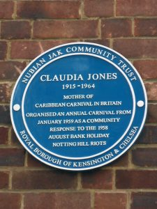 Plaque commemorating Claudia Jones - mother of the Caribbean carnival in Britain