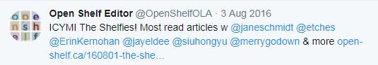 ICYMI The Shelfies! Most read articles w @janeschmidt @etches @ErinKernohan @jayeldee @siuhongyu @merrygodown & more http://www.open-shelf.ca/160801-the-shelfies/ …