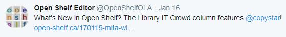 What's New in Open Shelf? The Library IT Crowd column features @copystar! http://www.open-shelf.ca/170115-mita-williams/ …