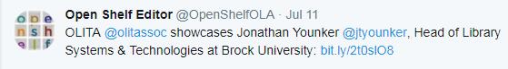 OLITA @olitassoc showcases Jonathan Younker @jtyounker, Head of Library Systems & Technologies at Brock University