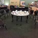 Table with resources, questions and circular seating around it