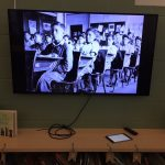 Television showing residential school images