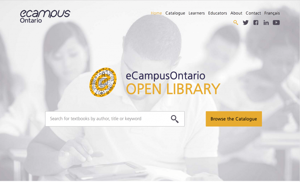 Screenshot of the eCampusOntario Open Library web page. It features a prominent search bar below the logo of the open library, with a background image of students in a classroom.