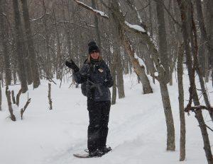 Jennifer Thomas snowshoeing