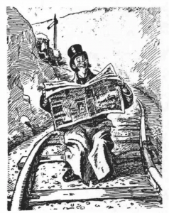 Victorian man reading paper on railroad tracks