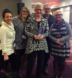 Many of Karen's Niagara College Library colleagues were on hand for the award presentation: Bianca Parisi, Jaclyn Chambers-Page (OCULA councillor-at-large), Karen McGrath, Ralph Laird and Gordana Vitez.