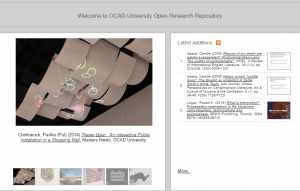 Image of Open Research, the institutional repository at OCADU