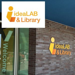 The new Innisfil ideaLAB & Library logo, inset, along with signage application at library entrance.