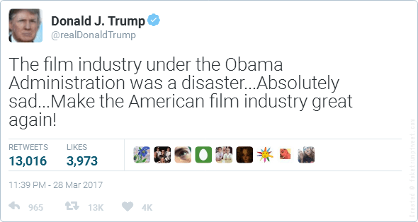 Fake Donald Trump Film Industry Tweet