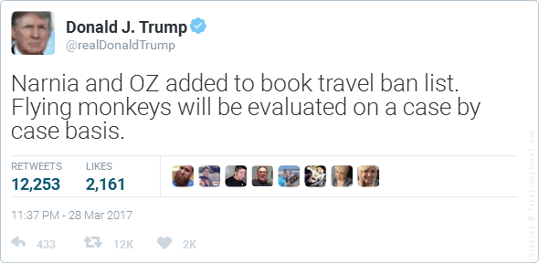 Fake Donald Trump Narnia Twitter Post