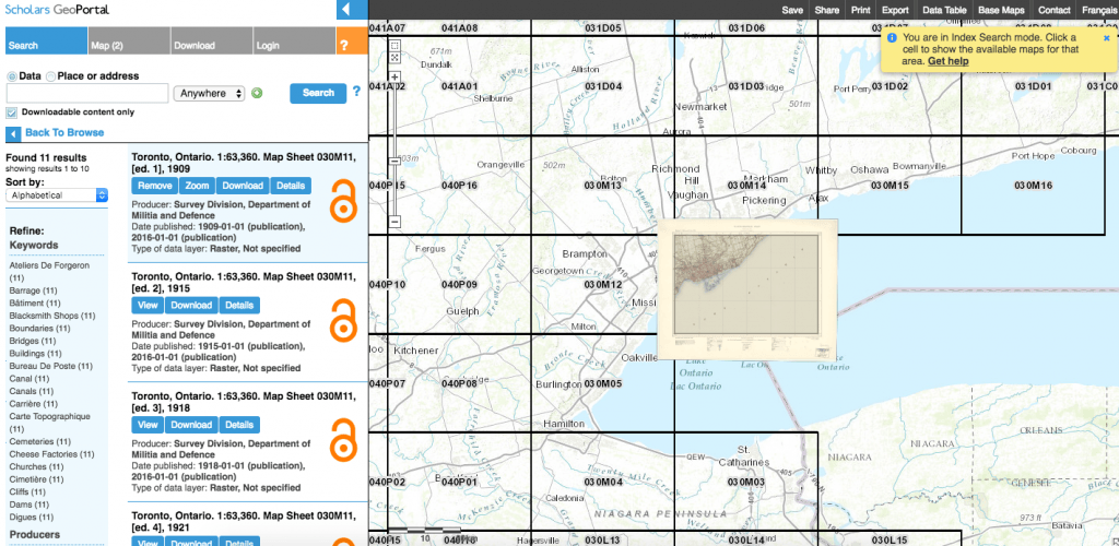 Access to Index and Digital Maps in Scholars GeoPortal