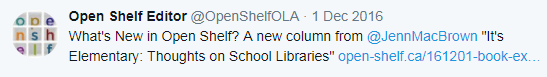 "What's New in Open Shelf? A new column from @JennMacBrown ""It's Elementary: Thoughts on School Libraries"" https://www.open-shelf.ca/161201-book-exchange/ …"