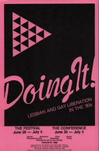 Digitized poster for the conference and festival: Doing It! Lesbian and gay liberation in the '80s