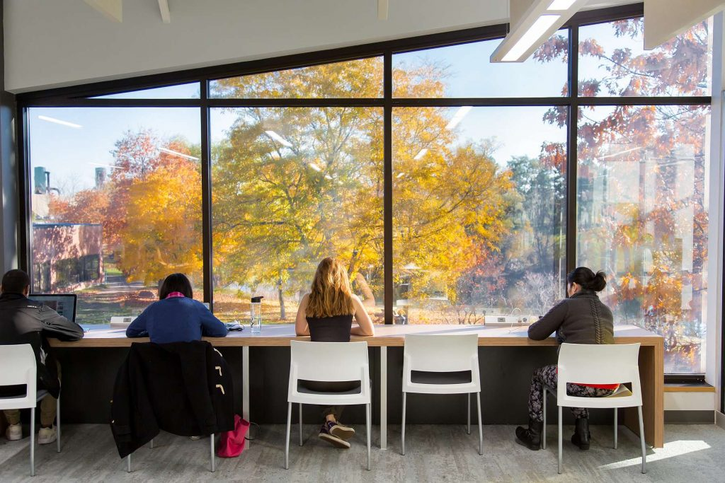 Image of students working on a long table by a window. Autum foliage is visible outside.