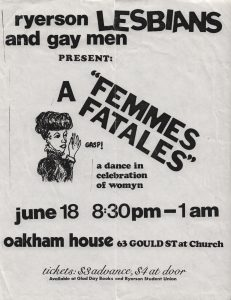 Promotional material for: A Femmes Fatales, a dance in celebration of womyn.